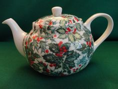 """Vintage Christmas Teapot - Chintz Pattern in Shades of green holly and red berries, one cup size """"S George Fine Bone China Made In England"""""""