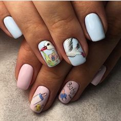 Nails during pregnancy, Nails for young mothers, Nails with stickers, Pastel nails, Slider nails, Two color nails, Youth nails