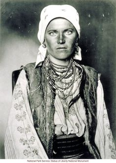 Gypsy woman at Ellis Island (Photograph by Augustus Sherman)  Date:  	  Circa 1910