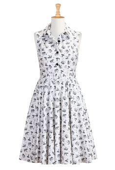 Elephant Print Cotton Dresses, Clever Conversational Shirtdresses Shop women's designer clothing - Cocktail Dress, Short Dresses, and more |...