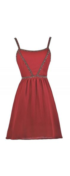 Lily Boutique Amber Glow Embellished Dress in Burgundy, $50 Burgundy Embellished Dress, Cute Red Dress, Red Dress Boutique Dress, Red Party Dress www.lilyboutique.com