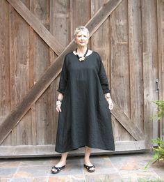 linen dress in black contemporary caftan. $145.00, via Etsy.