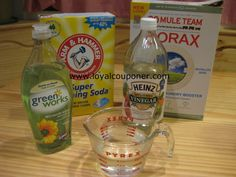 DIY All Purpose Cleaner -  2 Tsp. Borax 1 Tsp. Washing Soda 1/2 Tsp. Dish Soap 1/2 Cup Vinegar 2 Cups Water (I use hot water)