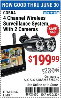 Wireless Security Camera System, Harbor Freight Tools, 4 Channel, Surveillance System, Sd Card