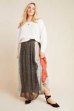 Plus Size Verb by Pallavi Singhee Margot Pleated Maxi Skirt in Assorted Size: Women's Skirts at Anthropologie Pink Prom Dresses, Backless Prom Dresses, Club Dresses, Party Dresses, Maxi Skirt Outfits, Formal Dresses For Teens, Plus Size Maxi, Matches Fashion, Pleated Maxi