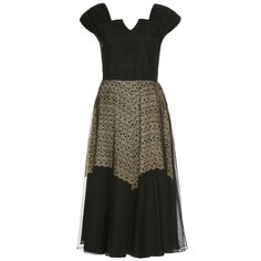 1940's Black Dress With Cream Lace Underlay | From a collection of rare vintage evening dresses at https://www.1stdibs.com/fashion/clothing/evening-dresses/