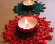 Christmas Crochet Candle Holder PDF Pattern by Crochettthings Crochet Christmas Ornaments, Christmas Crafts For Gifts, Christmas Candle Holders, Christmas Candles, Christmas Makes, Beautiful Christmas, Crochet Home, Crochet Gifts, Tea Light Holder