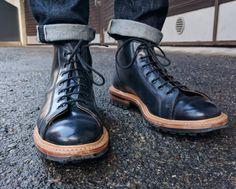 Tricker's Navy shell cordovan Monkey boots.