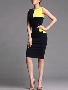 Color-block Cotton-blend Midi Dress