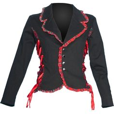 Gothic girl's jacket, black with red tartan, from the XS Punk clothing line by Raven SDL.