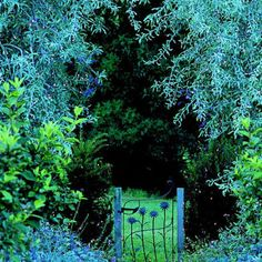 love the artsy blue flowers on this gate!!!