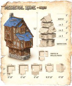 Fantasy Village, Fantasy House, Scrolls Game, Rpg Map, Medieval Houses, Minecraft Designs, Fantasy Setting, 3d Models, Environment Concept Art