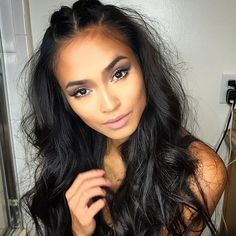 Three Parts Wavy Full Lace Human Hair Wig Body Wave Glueless Brazilian Virgin Hair Lace Front Wig with Baby Hair for Black Women Hair And Beard Styles, Curly Hair Styles, Pretty Hairstyles, Braided Hairstyles, Pinterest Hair, Hair Growth Oil, Hair Day, Human Hair Wigs, Prom Hair