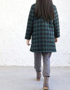 Baumwoll-Plaid dünn gepolsterte Jacke von MaLieb auf Etsy