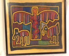 Caduceus-Mola-Panama-Kuna-Eagle-Snakes-Birds-Gift-for-Doctor-Framed-18x19-Vtg