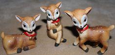 3 Christmas Reindeer Porcelain Figurines Home Interiors HOMCO 5606 NOS