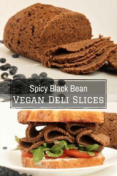 Spicy Black Bean Vegan Deli Slices - Very Vegan Val Vegan Meat Recipe, Vegan Vegetarian, Vegetarian Recipes, Cooking Recipes, Vegetarian Sandwiches, Entree Recipes, Vegan Dinner Recipes, Veggie Recipes, Vegan Lunches