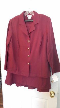 Westside Women's Plus 2-pc. Ruffle Back Suit BURGUNDY 20W #WESTSIDE #DressSuit