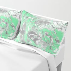Light green and gray Marble texture acrylic paint art Pillow Sham