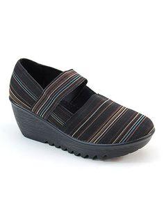31936fed285e9 Comfy Black Multi Stripe Platform Clogs Simple Shoes