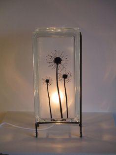 Glass Block Light Dandelion FREE SHIPPING upcycled di Glowblocks