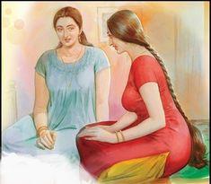 Indian Women Painting, Indian Art Paintings, Sexy Painting, Woman Painting, Figure Painting, Indian Natural Beauty, Indian Beauty Saree, Cartoon Girl Drawing, Beautiful Girl Image