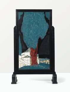 'LE MONASTÈRE DES 40 MYSTÈRES', A UNIQUE LACQUERED AND EGGSHELL INLAID FIRESCREEN BY JEAN GOULDEN AND JEAN DUNAND, 1921. SIGNED BY BOTH ARTISTS