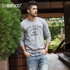 91875dea Simwood 2018 Spring New Hoodies Men Logo Letter Washed Sweatshirts Casual  Plus Size Fashion Brand Clothing High Quality 180108