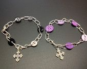Silver link and Button bracelets with Cross Charm