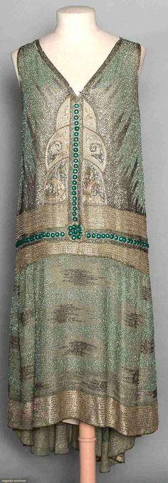 Flapper Dress (image 1) | late 1920s | cotton gauze, bugle beads | Augusta Auctions | November 12, 2014/Lot 197