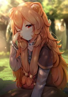 Anime picture tate no yuusha no nariagari kinema citrus raphtalia tsukimaru long hair single tall image blush highres fringe red eyes hair between eyes sitting looking away animal ears payot one eye closed outdoors orange hair sunlight 584237 en Anime Girl Neko, Manga Anime, Anime Art Girl, Manga Girl, Anime Naruto, Anime Girls, Neko Kawaii, Lolis Neko, Manga Kawaii