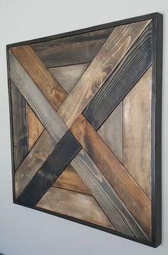 Tela patrón madera arte de pared | Etsy