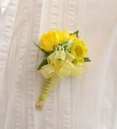 Handmade Wedding Day Guest Onhole In Artificial Yellow Ercups And Trachelium Corsages Onholes