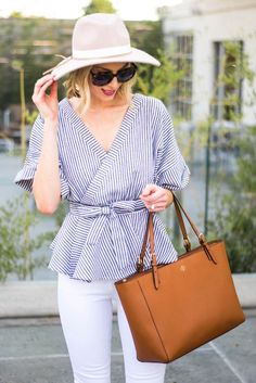 striped kimono top and hat - Amy Ann of Straight A Style