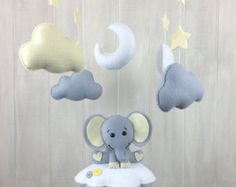 Bebé móvil móviles elefante nube bebés por JuniperStreetDesigns