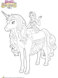 Coloriage Barbie In 2020 Unicorn Coloring Pages Mermaid