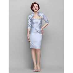 Lanting+Bride®+Sheath+/+Column+Plus+Size+/+Petite+Mother+of+the+Bride+Dress+-+Wrap+Included+Knee-length+Half+Sleeve+Satin+withAppliques+/+–+USD+$+99.99