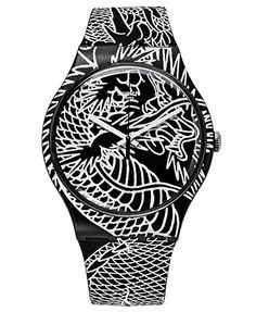 Swatch Watch, Unisex Swiss Draconem Black and White Graphic Silicone Strap 41mm SUOZ150