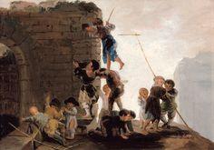 """Francisco de Goya: """"Niños buscando nidos"""". Oil on canvas, 30 x 43,5 cm, 1782-1785. Fundación Fusara, Madrid, Spain"""