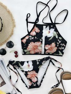 Chicnico Vintage Floral Print Tie Side Tank Bikini Set