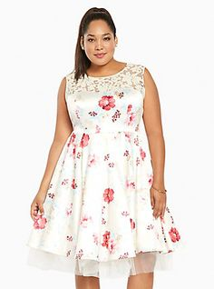 Plus Size Floral Print Illusion Ball Gown, BLOSSOM WALTZ