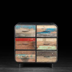 """Six Drawer Dresser from Artemano, who specialize in salvaged wood furnishings. I love the rounded edges outlined in charcoal, as well as the painterly feel of the salvaged wood. """"Artemano's roots are in Canada, but their inspiration took shape in faraway lands. From the Rosewood and Mango wood of India to the Suar and Teak of Thailand to the recycled woods of Indonesia; ranging from repurposed railway tracks to reclaimed planks of wood from old fishing boats."""""""