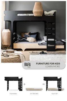 Bunk Bed Wall, Bunk Beds, Teen Bedding, Bedding Sets, Kids Furniture, Furniture Design, Purple Wall Decor, Romantic Bedroom Decor, Stylish Beds
