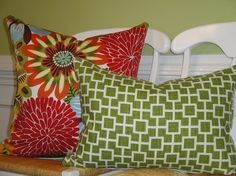 Same pillow with green accent pillow