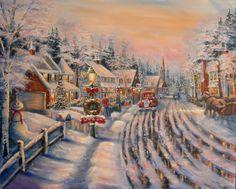 Thomas Kinkade (Winter in Merica! Thomas Kinkade Art, Thomas Kinkade Christmas, Illustration Noel, Christmas Illustration, Christmas Scenes, Christmas Art, Christmas Town, Christmas Villages, Victorian Christmas