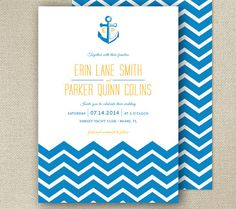 Modern take on nautical wedding invitations by: From Lucy With Love http://www.etsy.com/shop/FromLUCYwithLOVEwed