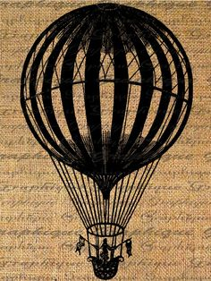 Vintage Striped Balloon Digital Image Download Transfer To Pillows Tote Tea Towels Burlap No. 2030