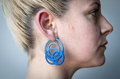 Loop Hoop Earrings by MARIA EIFE-USA . 3D printed nylon, sterling silver.