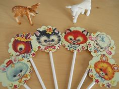 Retro Baby Animal Cupcake Toppers/Foods Pick Baby Shower Birthday Party
