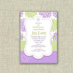 Baby Shower Invitation Lavender Purple Lime Kiwi green Dots Printable by girlsatplay. $12.00, via Etsy.